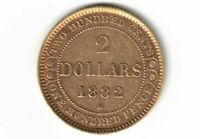 1882H NEWFOUNDLAND $2.00 GOLD QUEEN VICTORIA CANADIAN COIN