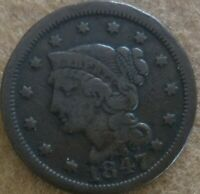 1847 US BRAIDED HAIR LIBERTY HEAD LARGE CENT   EARLY COPPER