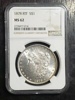 1878 8TF MORGAN SILVER DOLLAR NGC GRADED MS62   US COINS