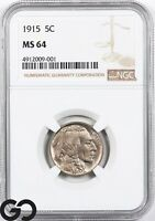1915 MS64 BUFFALO NICKEL NGC MINT STATE 64    SHARP STRIKE P