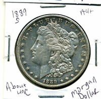 1889 S AU MORGAN DOLLAR 100 CENT  ABOUT UNCIRCULATED 90 SILVER US $1 COIN 1227
