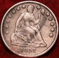 1857 PHILADELPHIA MINT SILVER SEATED LIBERTY HALF DIME