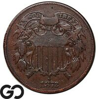 1872 TWO CENT PIECE VERY TOUGH CHOICE VF   BETTER DATE