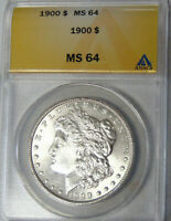 ANACS MINT STATE 64 1900 MORGAN SILVER DOLLAR PHILADELPHIA MINT NEAR GEM UNCIRCULATED