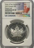 2019 $5 SILVER CANADIAN MODIFIED MAPLE LEAF NGC PF70 PRIDE O