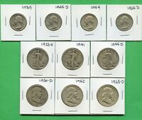 $4 FACE  UNITED STATES SILVER COINS CIRCULATED HALVES & QTR