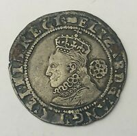 1591 ELIZABETH I HAMMERED SILVER SIXPENCE GREAT BRITAIN SIX