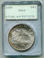 1885 1885-P MORGAN SILVER DOLLAR PCGS MINT STATE 64 OLD RATTLER FIRST GENERATION HOLDER