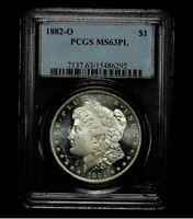 1882-O PCGS MINT STATE 63PL MORGAN SILVER DOLLAR