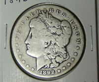 1892-CC MORGAN SILVER DOLLAR G/VG OLD WEST CARSON CITY MINT 112519
