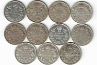 11 X CANADA TEN CENTS DIMES KING GEORGE V .800 SILVER COINS 1920  1936 CANADIAN