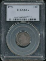 1796 DRAPED BUST DIME PCGS G 06  OLD BLUE LABEL HOLDER   SMALL EAGLE REVERSE