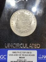 1880/79 CC TOP-100 VAM-4 REV OF 78 GSA HOARD NGC MINT STATE 64 BOX AND PAPERS