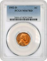 1952-D 1C PCGS MINT STATE 67 RD - LINCOLN CENT