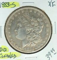 1883-S MORGAN SILVER DOLLAR  EXTRA FINE   CLEANED  REF D/D