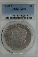 1886-S  $1  PCGS   AU 55   MORGAN SILVER DOLLAR, MISS LIBERTY HEAD