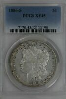 1886-S  $1  PCGS   EXTRA FINE  45   MORGAN SILVER DOLLAR, MISS LIBERTY HEAD