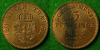 GERMANY   PRUSSIA 3 PFENNIG 1852 A   ABOUT UNCIRCULATED