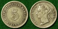 STRAITS SETTLEMENTS 5C 1899 IN