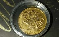 1911 GREAT BRITAIN SOLID GOLD SOVEREIGN GEORGE V  UNCIRCULAT