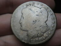 1880 S SILVER MORGAN DOLLAR, GOOD DETAILS, VAM 3, S TILTED LEFT