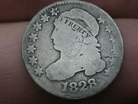 1828 CAPPED BUST SILVER DIME- LARGE DATE- GOOD DETAILS