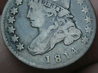 1814 CAPPED BUST SILVER DIME- SMALL DATE- VG/FINE DETAILS