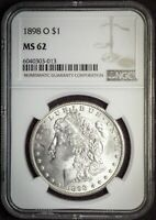 1898 O MINT STATE 62 NEW ORLEANS MORGAN SILVER US $1 DOLLAR FREE SHIP UNC NGC
