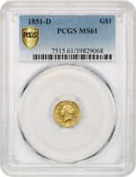 1851-D G$1 PCGS MINT STATE 61 - TOUGH DAHLONEGA ISSUE - 1 GOLD COIN