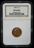1949-S LINCOLN WHEAT CENT NGC MINT STATE 66 RD - 07374