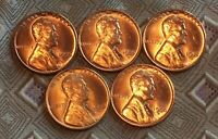 1955-P/D/S  1953S 1954D UNC. LINCOLN WHEAT CENT'S   5 COIN   ITM1756