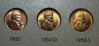 1952 P-D-S  LINCOLN CENT TRIO - UNC -  RED / RED BROWN
