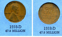 LINCOLN HEAD WHEAT CENT 1918 D AVERAGE CIRCULATED UNITED STATES 1 PENNY COIN B4