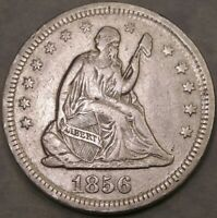 1856 LIBERTY SEATED SILVER QUARTER CIRCULATED BOLD DRAPERY H