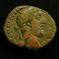 SESTERTIUS EMPEROR COMMODUS RV VICTORY TWO SHIELDS 19.55 GRAMS 25 30MM AD 189