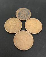 1921 S 2 1935 S & 1942 S LINCOLN CENT PENNIES LOT OF 4 EARLY S MINT WHEAT BACK