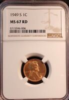 1949 S LINCOLN CENT   NGC  MINT STATE 67 RD   DEEP RED   COMBINED SHIPPING AVAILABLE