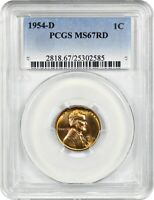 1954-D 1C PCGS MINT STATE 67 RD - LINCOLN CENT
