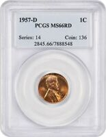 1957-D 1C PCGS MINT STATE 66 RD - LINCOLN CENT