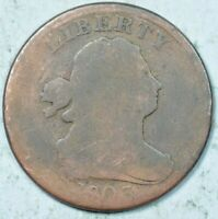 1803 1/2C DRAPED BUST HALF CENT ABOUT GOOD / GOOD DETAILS AG/G