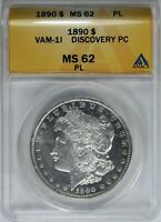 1890 P MORGAN  DOLLAR ANACS MINT STATE 62 PL VAM 1I DENTICLE CLASHED DISCO COIN