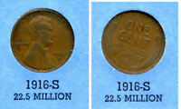 LINCOLN HEAD WHEAT CENT 1916 S AVERAGE CIRCULATED UNITED STATES 1 PENNY COIN B4
