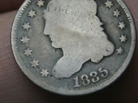 1835 CAPPED BUST HALF DIME- GOOD DETAILS, LARGE DATE, LARGE 5C