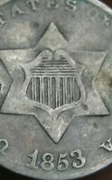 1853 THREE 3 CENT SILVER TRIME- FINE/VF DETAILS