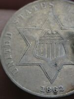1862 THREE 3 CENT SILVER COIN- VF/EXTRA FINE  DETAILS-  KEY DATE
