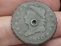 1810 CLASSIC LARGE CENT PENNY- REEDED/TOOTHED EDGE, USED IN ANTIQUE PIE CRIMPER