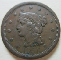 1856 US BRAIDED HAIR LARGE CENT COIN.  GRADE C417