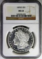 1878 S MORGAN SILVER DOLLAR NGC MINT STATE 63 VAM 17A REAL EARLY AND BLACK AND WHITE