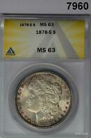 1878 S MORGAN SILVER DOLLAR ANACS CERTIFIED MINT STATE 63 PINK BLUSH 7960