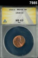 1918 LINCOLN CENT ANACS CERTIFIED MINT STATE 63 RB  DEEP RED 7985
